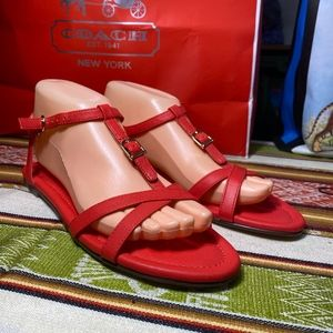 NEW J.Crew orange red strappy ankle flat sandal